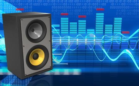 3d illustration of sound system over cyber background