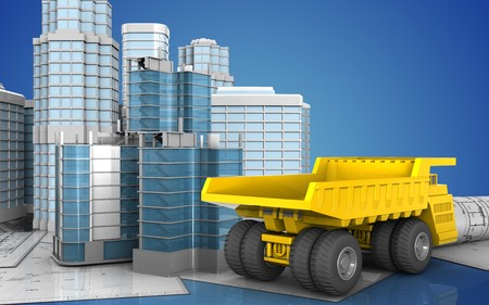 3d illustration of city quarter construction with urban scene over blue background Stock Photo