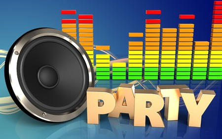 3d illustration of  over wave blue background with party sign