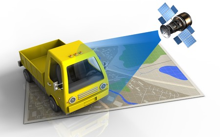 wireless communication: 3d illustration of map with yellow truck and satellite