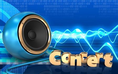 3d illustration of blue sound speaker over cyber background with concert sign