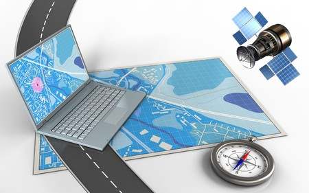 3d illustration of blue map with computer and compass
