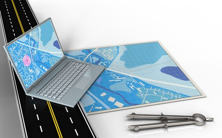 3d illustration of blue map with computer and circle tool Stock Photo