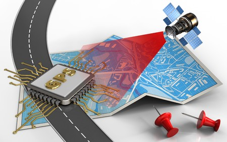 3d illustration of city map with gps chip and red pins