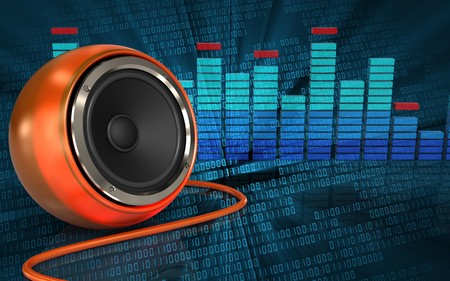 3d illustration of orange speaker over binary digital background