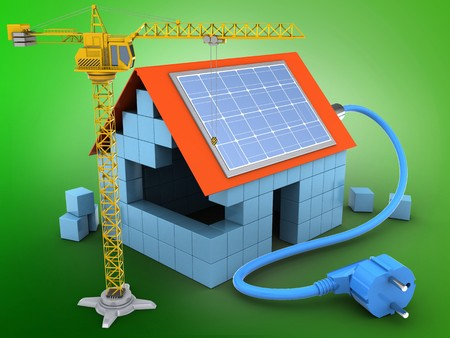 sun block: 3d illustration of block house over green background with solar power and crane