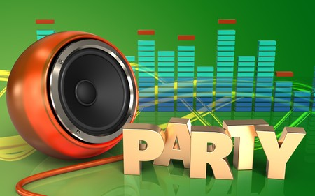 3d illustration of orange speaker over green background with party sign