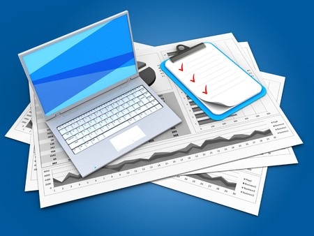 checklist: 3d illustration of business charts and white laptop over blue background with clipboard Stock Photo