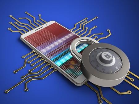 3d illustration of white phone over blue background with electronic circuit and lock Stock Photo
