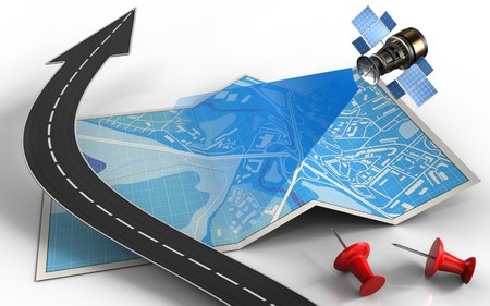 wireless communication: 3d illustration of city map with road arrow and satellite