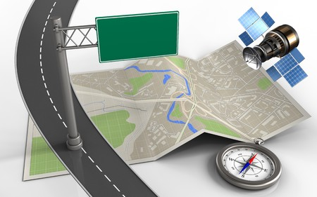 wireless communication: 3d illustration of map paper with index sign and compass Stock Photo