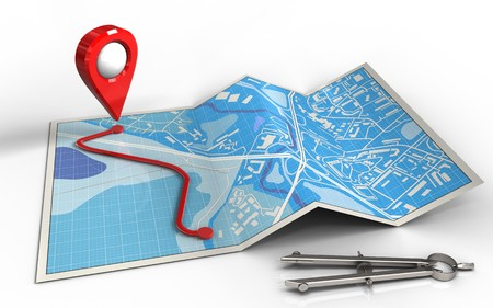3d illustration of city map with route and