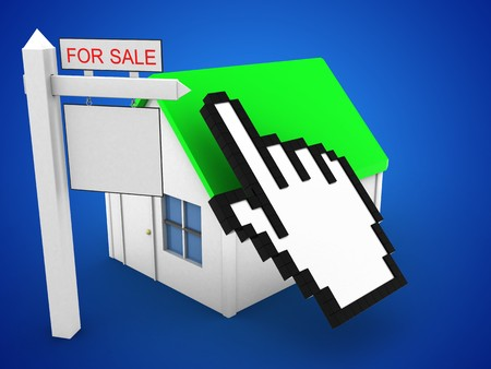 rent index: 3d illustration of simple house over blue background with cursor and sale sign