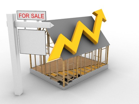 rent index: 3d illustration of house frame over white background with arrow graph and sale sign Stock Photo