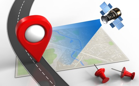 map pin: 3d illustration of bright map with location pin and red pins