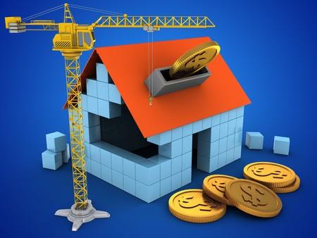 3d illustratie van blokhuis over blauwe achtergrond met muntstukken en kraan Stockfoto