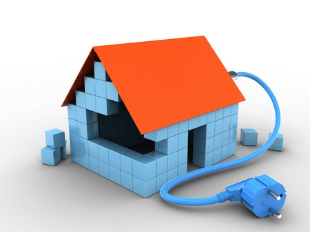 3d illustratie van blokhuis over witte achtergrond met machtskabel Stockfoto