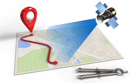routing: 3d illustration of bright map with route and satellite Stock Photo