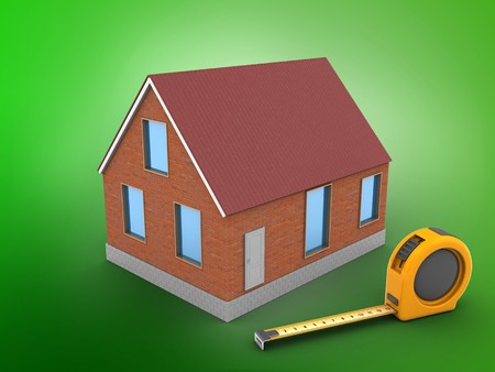 3d illustration of bricks house over green background with ruler