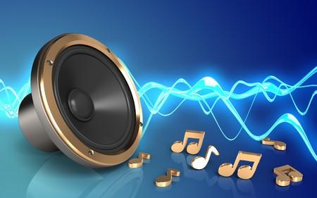 3d illustration of loud speaker over sound wave blue background with notes