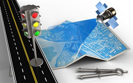wireless communication: 3d illustration of city map with traffic light