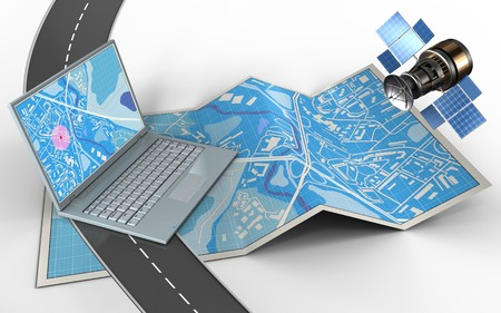 3d illustration of city map with computer and