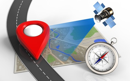 map pin: 3d illustration of map with point icon and compass Stock Photo