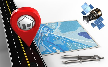 3d illustration of blue map with home pin and circle tool Stock Photo