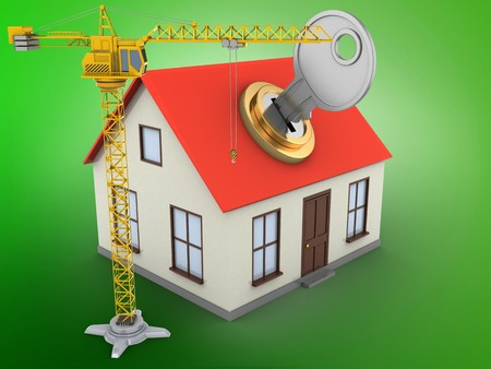 key hole: 3d illustration of generic house over green background with key and crane Stock Photo