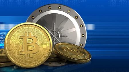 html: 3d illustration of valut door over digital background with bitcoins