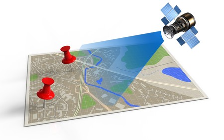 3d illustration of map with red pins and satellite Stock Photo