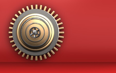 3d illustration of golden vault door  over red background Stock Photo
