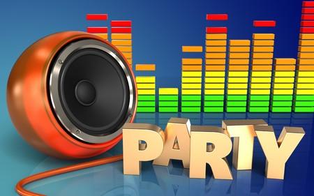 3d illustration of orange speaker over blue gradient background with party sign