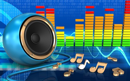 3d illustration of blue sound speaker over cyber background with notes Stock Photo
