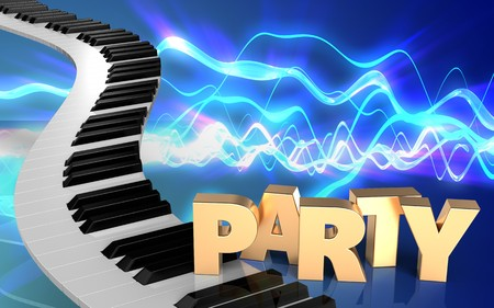 3d illustration of piano keys over sound waves blue background with party sign
