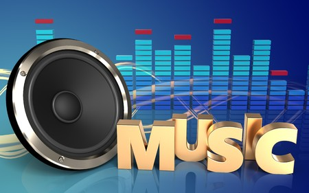 3d illustration of  over wave blue background with music sign