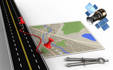 3d illustration of map with pins and route and circle tool