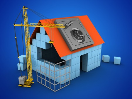 3d illustratie van blokhuis op blauwe achtergrond met veilige en bouwplaats Stockfoto