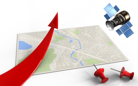 3d illustration of bright map with red arrow and gps satellite