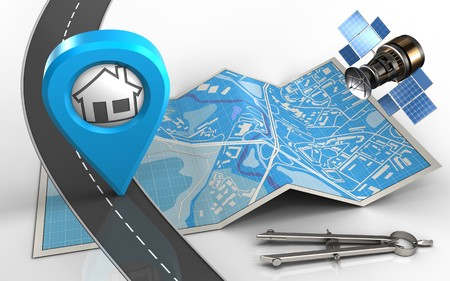 map pin: 3d illustration of city map with home point and circle tool Stock Photo