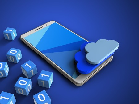 remote server: 3d illustration of white phone over blue background with binary cubes and clouds