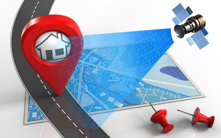 3d illustration of blue map with home pin and red pins Stock Photo
