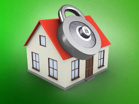 3d illustration of generic house over green background with code lock