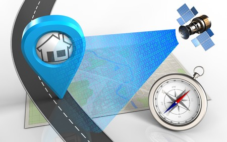 wireless communication: 3d illustration of bright map with home point and compass