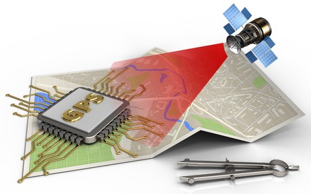 3d illustration of map paper with gps chip and satellite