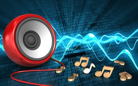 3d illustration of speaker over sound wave digital background with notes