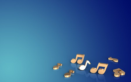 3d illustration of notes over blue gradient background