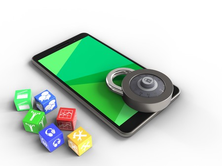 3d illustration of mobile phone over white background with cubes and code lock