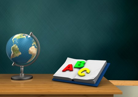 3d illustration of schoolboard with opened textbook and globe