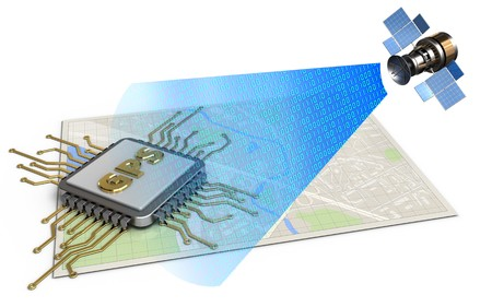 3d illustration of bright map with gps chip and satellite digital signal